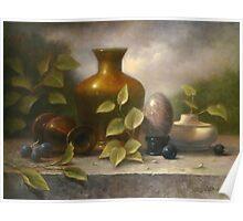 Golden Vase with Marble Egg Poster