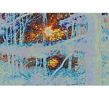 Sunburst and Purple Snow Photographic Print