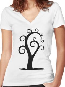 Nautilus Shell Tree Women's Fitted V-Neck T-Shirt