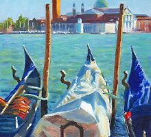 Gondolas and San Giorgio Maggiore Venice by Dai Wynn