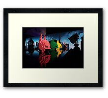 Lego Batman Heads - Gotham City Framed Print