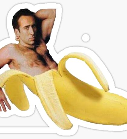 Nicolas Cage In A Banana - Original Yellow Sticker