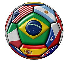 Ball with Brazilian flag in the center Photographic Print
