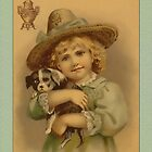 Vintage Girl with Puppy Greetings by Yesteryears