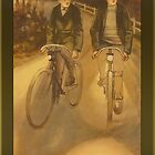 Vintage Evening Cyclists Greeting by Yesteryears