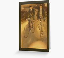Vintage Evening Cyclists Greeting Greeting Card