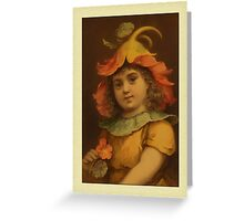 Vintage Pansy Child Greetings Greeting Card