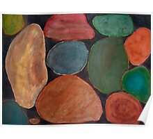Lovely colourful Stones on dark Background Poster