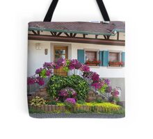 House and Flowers Tote Bag
