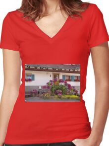 House and Flowers Women's Fitted V-Neck T-Shirt