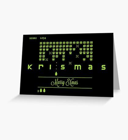 Xmas Invaders Greeting Card