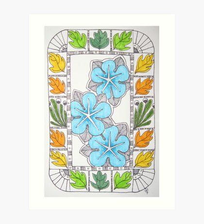 Bright Blue (Venus) Rose Art Print