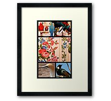 Birds, an vertical collage.. Framed Print