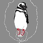Happy Penguin in Converse by Kat Robichaud