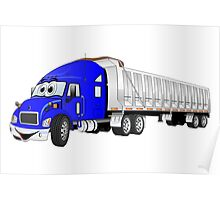 Semi Dump Truck Blue Trailer Cartoon Poster