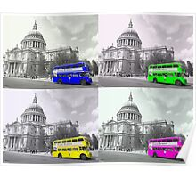 Warhol Style Coloured Routemasters Poster