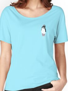 Penguin in Red Converse Crest Women's Relaxed Fit T-Shirt