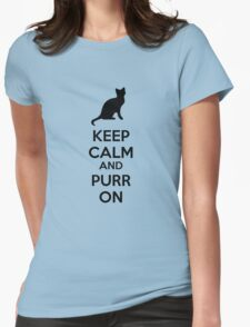 Keep calm and purr on Womens Fitted T-Shirt