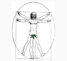 Vitruvian Man with a Cannabis Leaf by designally