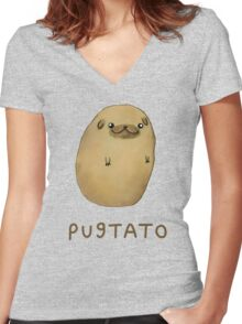 Pugtato Women's Fitted V-Neck T-Shirt
