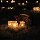 Christmas Eve ice candles, Kenora , Ontario cemetary by Alex Call
