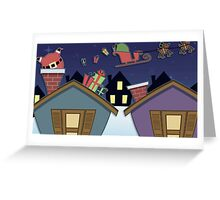 Santa in the Chiminey Greeting Card