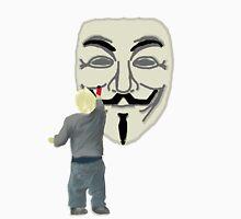 Boy Graffiting Anonymous Mask Cartoon Unisex T-Shirt