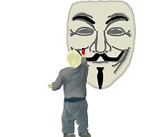 Boy Graffiting Anonymous Mask Cartoon by Rice Rocca