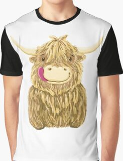 Cartoon Scottish Highland Cow Graphic T-Shirt