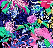 Peonies and chrysanthemums by Elmira Amirova