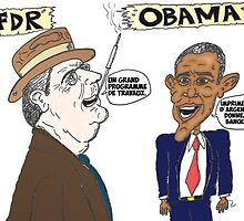 Politique économique de Roosevelt et Obama caricature by Binary-Options