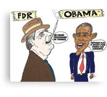 Politique économique de Roosevelt et Obama caricature Canvas Print