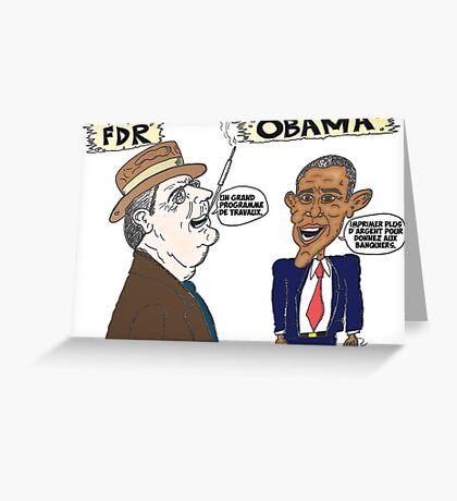 Politique économique de Roosevelt et Obama caricature Greeting Card