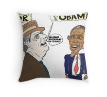 Politique économique de Roosevelt et Obama caricature Throw Pillow