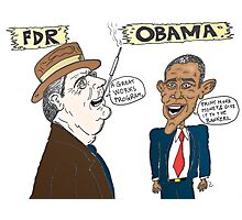 Economic politics of Roosevelt and Obama caricature Photographic Print