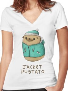 Jacket Pugtato Women's Fitted V-Neck T-Shirt