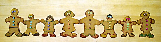 ginger bread happy families... by Gregoria  Gregoriou Crowe