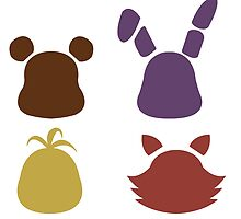 Bear, bunny, chick and fox2 pattern -white- by CoyoDesign