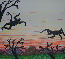 Leaping in the sunset by George Hunter