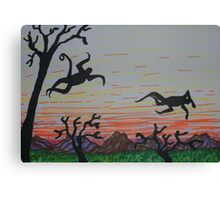 Leaping in the sunset Canvas Print