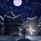 Ponyville, Night, Snowy by Stinkehund