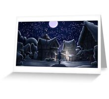 Ponyville, Night, Snowy Greeting Card