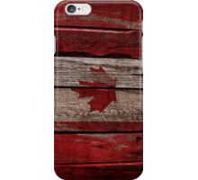 Vintage Canada Flag - Cracked Grunge Wood iPhone Case/Skin