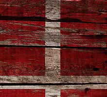 Vintage Denmark Flag - Cracked Grunge Wood by UltraCases