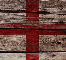 Vintage England Flag - Cracked Grunge Wood by UltraCases