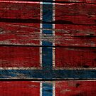 Vintage Norway Flag - Cracked Grunge Wood by UltraCases