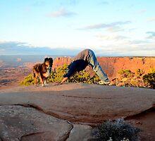 Down Dog with Dog - Canyonlands, Utah by Michael Kannard