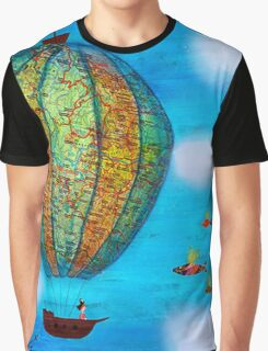 Pirate Hot Air Balloon with Flying Fish Graphic T-Shirt