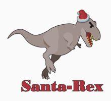 Santa Rex funny Christmas dinosaur tee  by Tia Knight