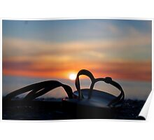 Casual Thongs during Sunset Poster